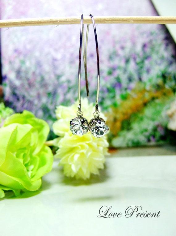 Black Friday Swarovski Crystal Classic Pull Through BirthStone Earrings - Color Full Birthstone, Black and Fuchsia