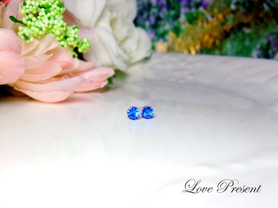 PIF - Swarovski Crystal Stud Tiny Teeny Little Mini Cartilage Earrings - Color Sapphire - Hypoallergenic or Metal post - Choose your post