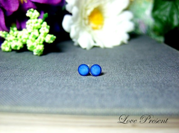 Swarovski Crystal Stud Tiny Teeny Little Mini Cartilage Earrings - Color Sky Blue White Opal - Hypoallergenic or Metal - Choose your post