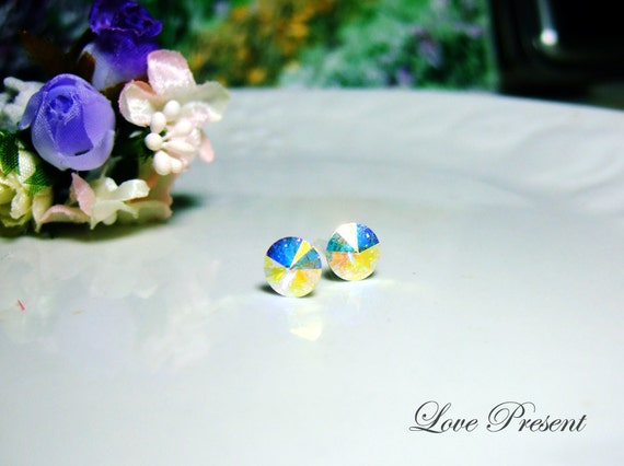 Swarovski Crystal Stud Rock N Roll Metallic Button Earrings - Color Aurora Boreale - Hypoallergenic or Metal post - Choose your post