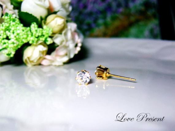 Swarovski Crystal 0.5cm Petite Round Rhinestone Pierced GOLD Post Earrings - Modern Minimalist Jewelry for Everyday - Color Clear Diamond