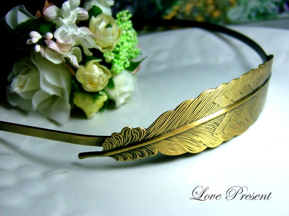 Christmas Antique Feather Headband art nouveau vintage style elegant bridal hair accessory - Color Anti Brass and Sliver
