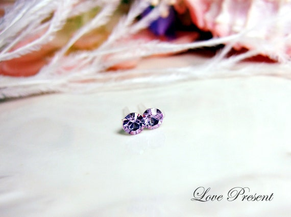 PIF - Swarovski Crystal Stud Tiny Teeny Little Mini Cartilage Earrings - Color Violet - Hypoallergenic or Metal post - Choose your post