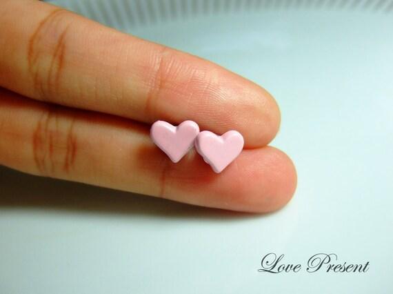 Bridesmaids gifts  - Sweet Pastel Pale Milky Pink Sweet Heart Stud earrings