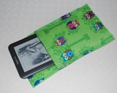 Ereader protection cozy cover in green, pink, and blue owls-- for Kindle, Sony, Kobo etc