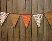 Fabric Thanksgiving Banner Bunting Flag Leaves and Pumpkins Fall