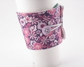 Fabric Coffee Sleeve, Coffee Cozy Purple Floral Adjustable with Button for Girls Woman