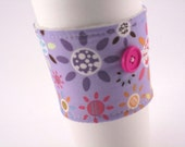 Fabric Coffee Sleeve  Funky Purple Floral Women Girls Adjustable with Button