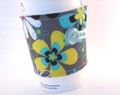 Reusable Coffee Sleeve Floral Grey Aqua Blue for Woman Coffee Cozy