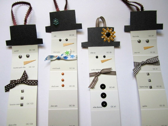 Snowman Christmas Tree Ornaments, Gift Tag, Upcycled Paint Chips, Set of 4