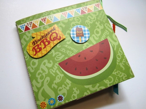 Paper Bag Album Premade Scrapbook Summer BBQ Party Fun 6x6