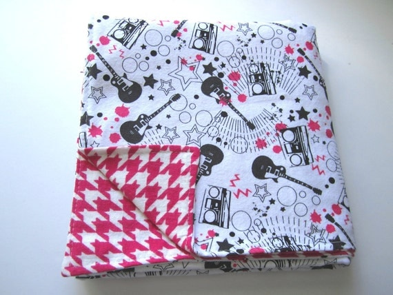 Girls Guitar Reversible Flannel Swaddle Blanket and Pink Hounds tooth