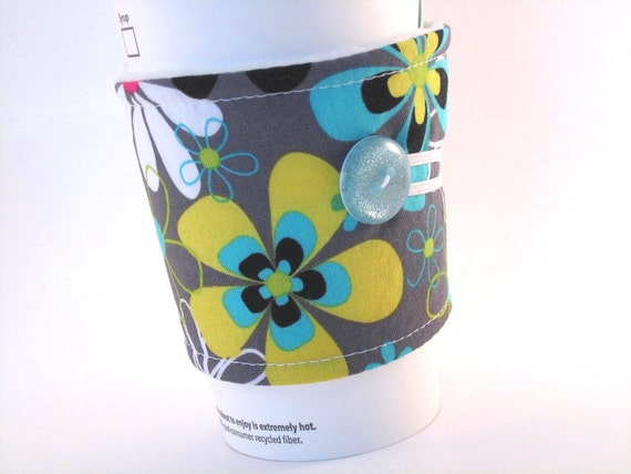 Reusable Coffee Sleeve Floral Grey Aqua Blue for Woman Coffee Cozy