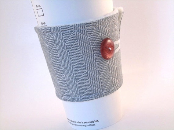 Coffee Sleeve Chevron Zig Zag Black White Coffee Cozy with Red Sparkle Button