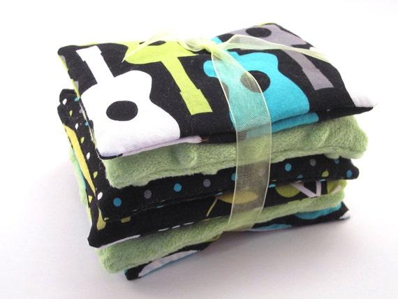 Bean Bag Sensory Toy, Set of Six, Girl or Boy, Groovy Guitar, Green Minky