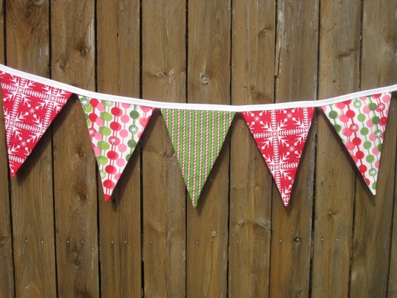 Sale, Holiday Garland, Funky Christmas Banner, Fabric Bunting Flag, Reds, Greens, Pinks