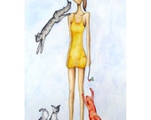 SALE Smart Girl with Three Playful Cats (original painting)