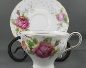 Pink Rose Teacup & Saucer Demi-Tasse Paragon Golden Emblem Bone China vintage Cup