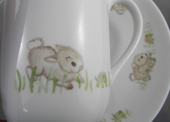 Easter Bunny Turtle Hand Painted Mug Plate set handpainted signed rabbit tortoise hare coffee
