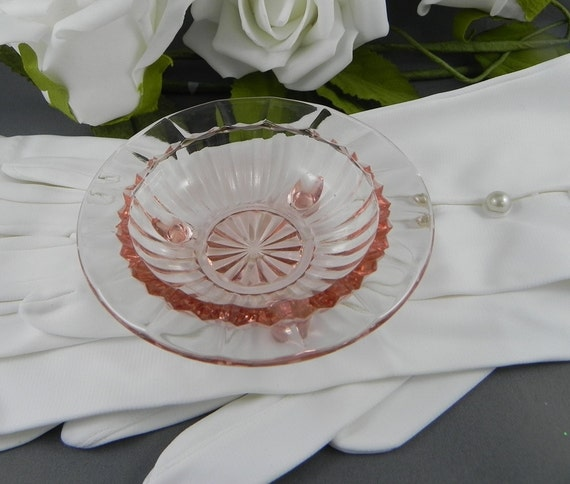 Pink Depression Glass Dish candy ashtray ring dish vintage 3 footed