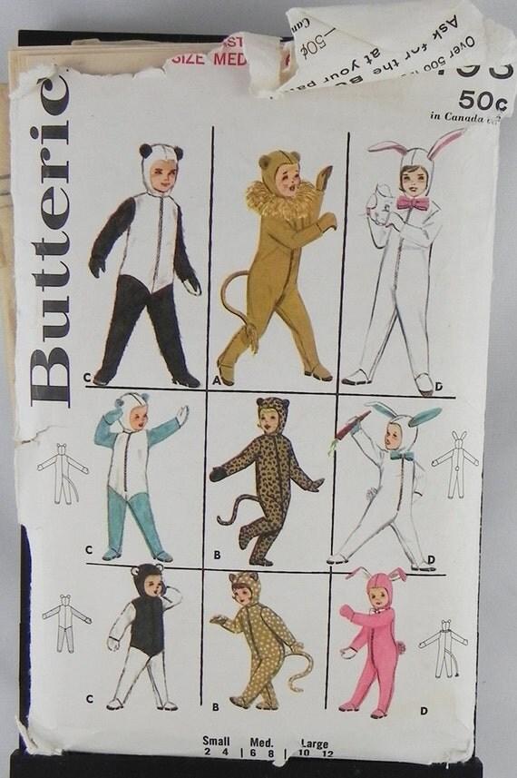 Halloween Costume Pattern childs Butterick 3193 Panda Lion Bunny Leopard Bear sz medium