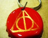 Deathly Hallows Painted Bottle Cap Key Chain
