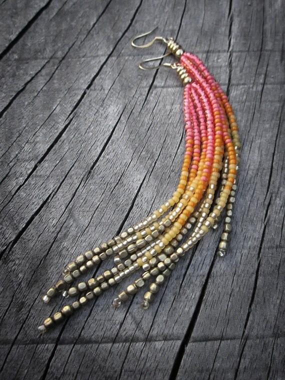 Neon Rainbow Fringe Earrings, Seed Bead Fringe, Summer Jewelry, Hot Pink, Neon Orange, Bright Yellow, Gold, Brass, Playful, Vibrant, OOAK