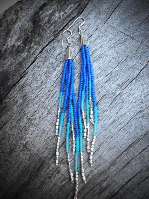 Shooting Star Fringe Earrings - Silver,  Blue, Seafoam, Turquoise Seed Bead Earrings, Beaded Fringe, Boho, Tribal, OOAK