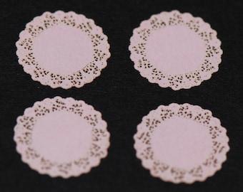 4 Pink Miniature Laser Cut Doilies
