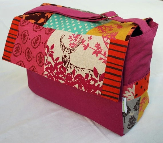 Diaper / Lge Messenger / Nappy Bag - The Deer in the Garden with Fuschia Lining