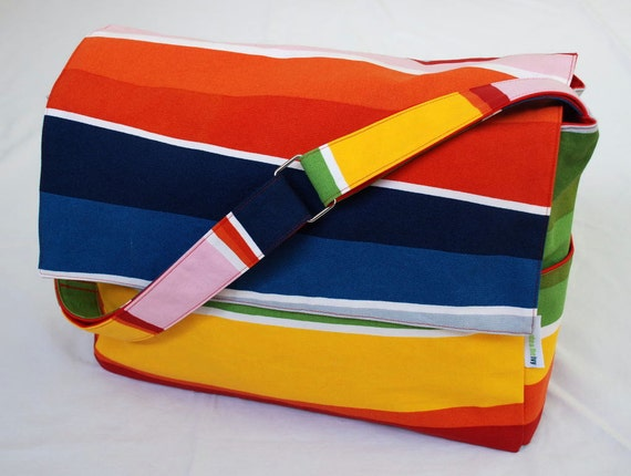 Diaper / Lge Messenger / Nappy Bag - The Diagonal Stripe with Red lining