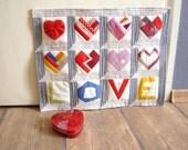 Paper pieced Valentine PDF Pattern quilt blocks LOVE and hearts instant download German