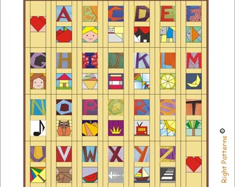 Picture alphabet  Paper pieced quilt Pattern INSTANT DOWNLOAD pdf pictures letters