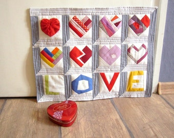 Wedding Paper pieced Pattern quilt Love and hearts INSTANT DOWNLOAD PDF