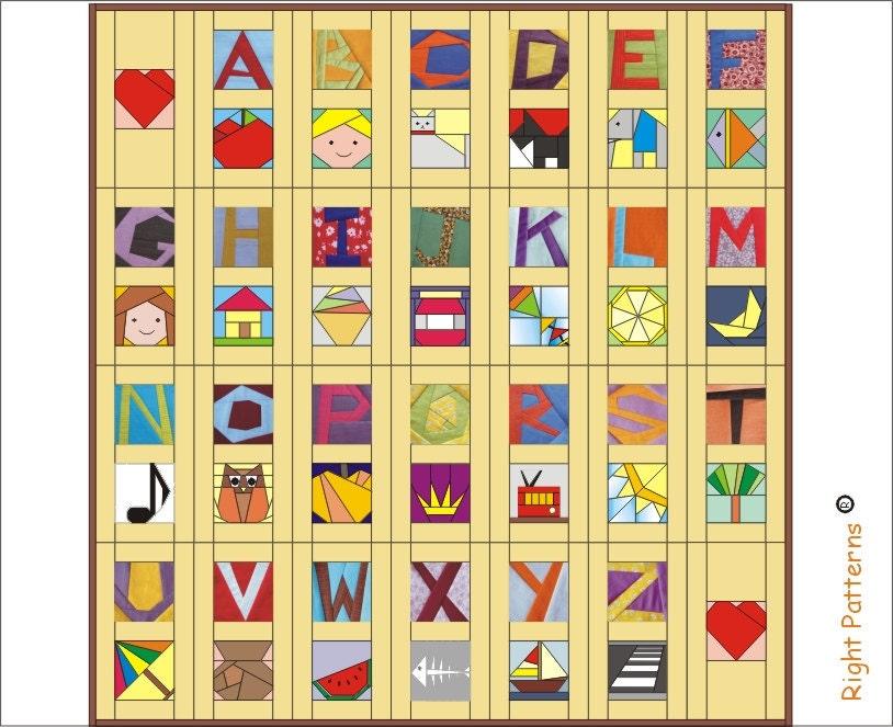 Alphabet Quilting Pattern : Picture alphabet Paper pieced quilt Pattern INSTANT DOWNLOAD