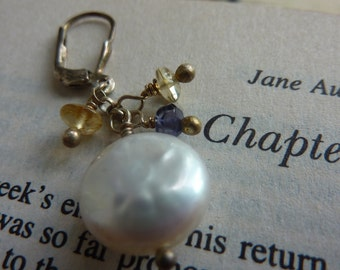 Luminous Creamy White coin Pearls Iolite and Citrine Gemstones Sterling Silver