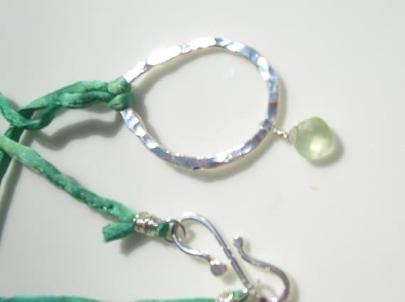 Bright Green Silk Cord Fine Silver and Faceted Pale Green Prehnite Necklace