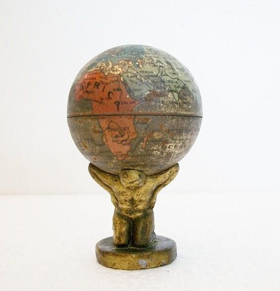 Globe - 1920s Atlas Holding Up World Pencil Sharpener - TREASURY PICK