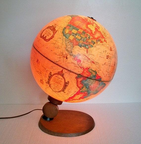 Vintage Illuminated World Globe Spot Globe - Made in Denmark