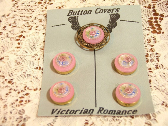 Vintage Pink Victorian Style Button Covers