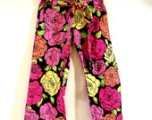 Pants - Pink and Yellow Roses Pants for Girls - 2T 3T 4T 5T By AnkleBiterApparel