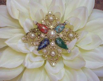 Vintage Sarah Coventry Pin Brooch, Gold Tone, Filigree Pearls, Multicolor Stones, Aurora Borealis Rhinestones, 1960's, GALAXY