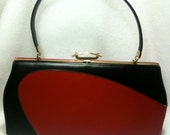 Beautiful Vintage Red & Black Purse with Amazing Gold Clasp