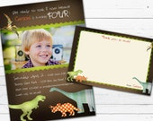 Dinosaur Birthday Invitation Photo Card and Matching Thank you Note- Rock and Roar