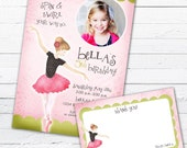 Ballerina Birthday Invitation And Thank You Note - Tiny Dancer, Pink