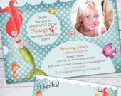 Mermaid Birthday Invitation Photo Card and Matching Thank you Note