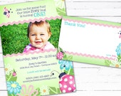 Ladybug Birthday Invite Photo Card and Matching Thank you Note-- Little Bug