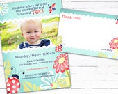 Little Bug (teal)- Custom Birthday Invite Photo Card and Matching Thank you Note
