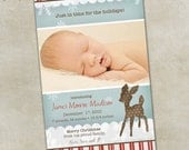 Birth Announcement Holiday Photo Card -- Oh Deer (boy)