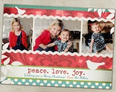 Holiday Photo Card-- Red and Teal Shabby Chic Christmas- Horizontal